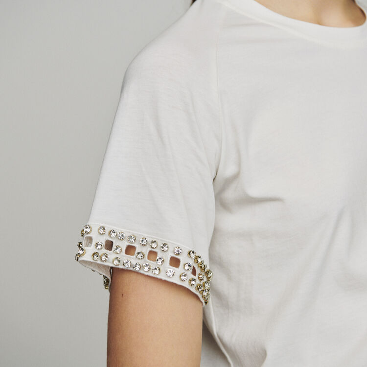 Open-work T-shirt with rhinestone : T-Shirts color Ecru