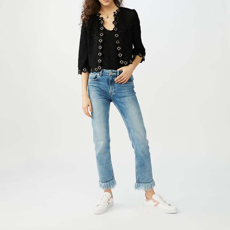 Guipure lace eyelet cardigan : See all color Black 210