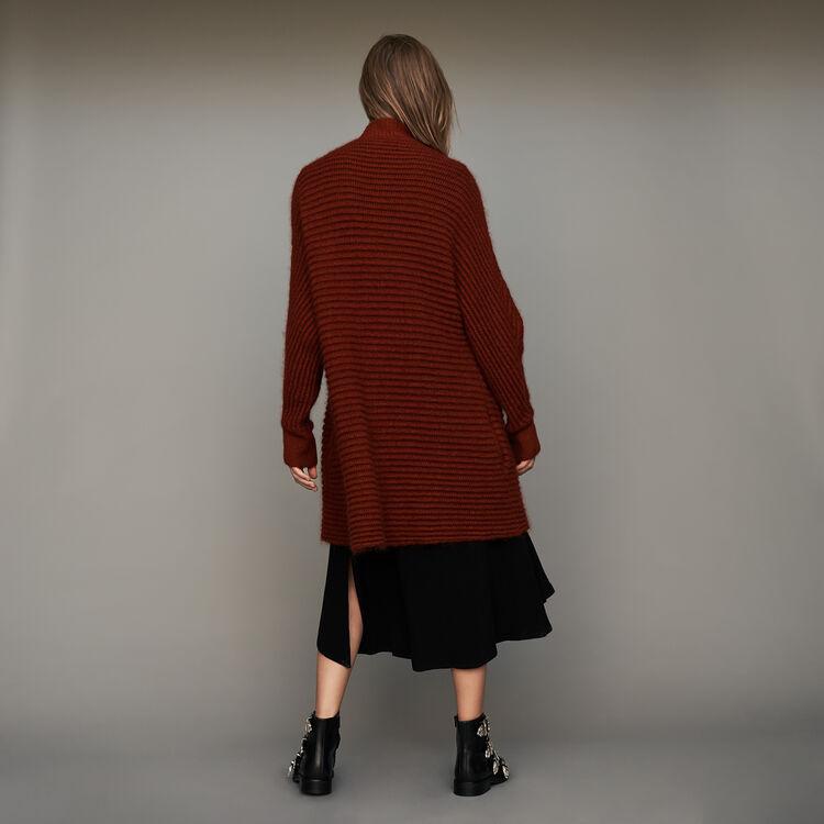 Mohair cardigan in alpaca blend : Knitwear color Caramel