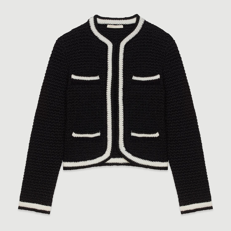 Cropped wool cardigan : Knitwear color Black 210