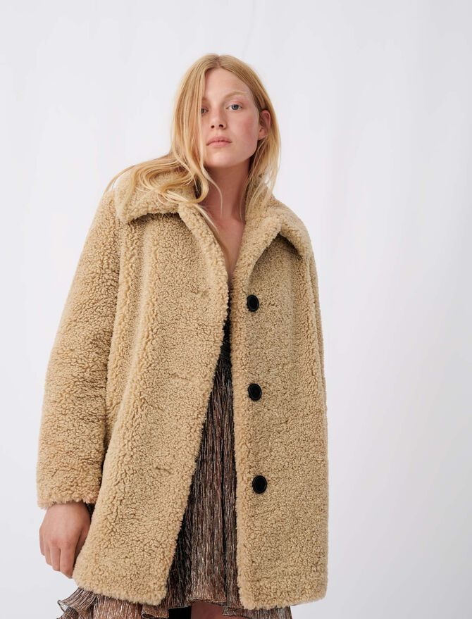 Fur-effect coat - tout voir - MAJE