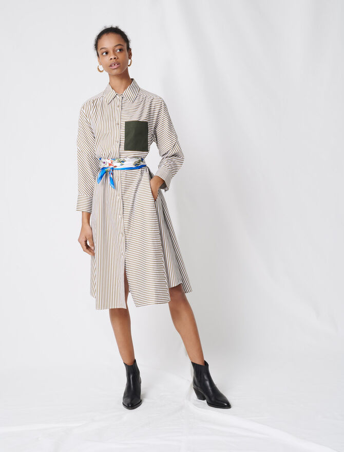 Striped shirt dress, contrasting belt - Dresses - MAJE