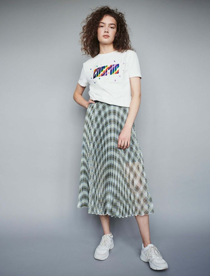 Plaid pleated organza skirt - SoldesFR_ALL - MAJE