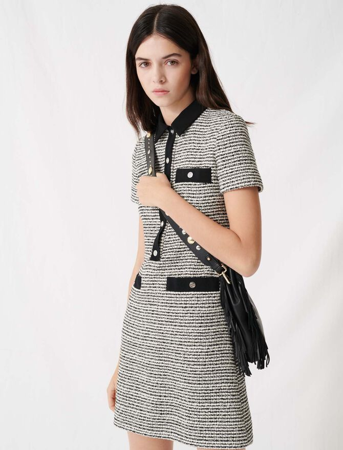 Belted tweed-style dress -  - MAJE