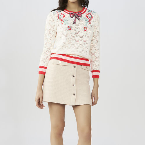 Hemstitched sweater with details : Knitwear color ECRU