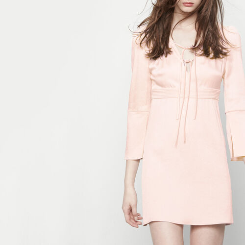 Satin dress with sailor collar : Dresses color Nude