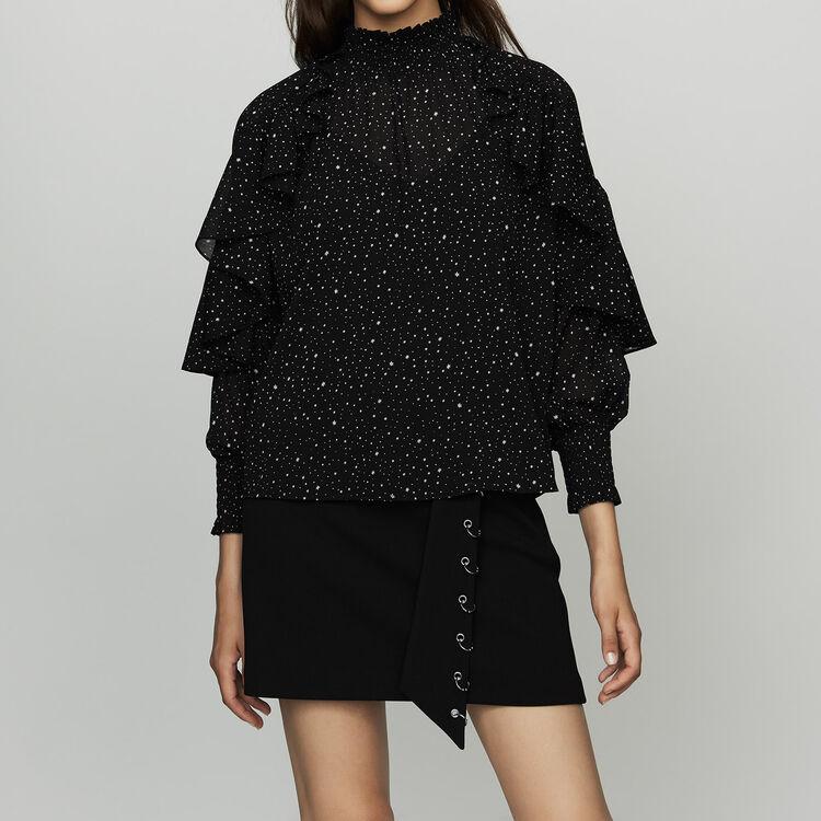 Ruffle shirt with polka : Tops color BLACK