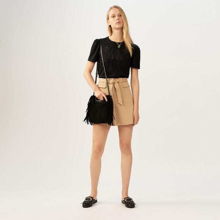 Suede M bag : The Essentials color Black 210