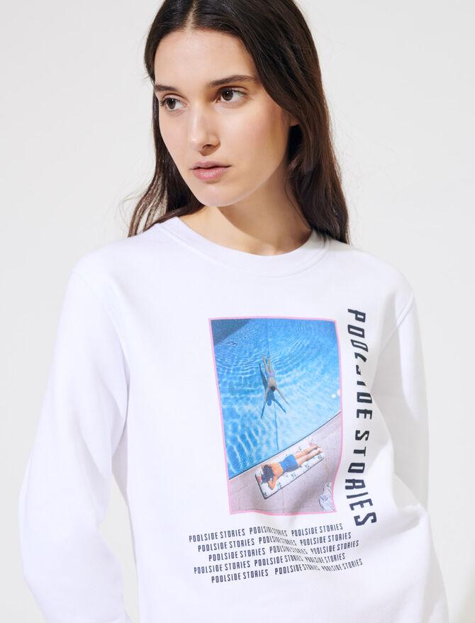 White screen-printed sweatshirt - Knitwear - MAJE