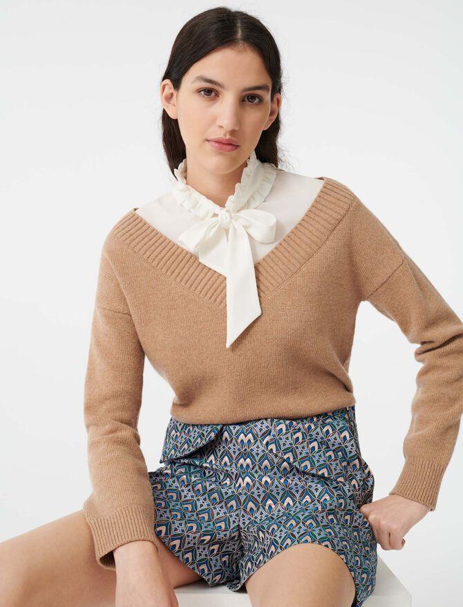 Mixed fabric trompe l'oeil sweater - Knitwear - MAJE