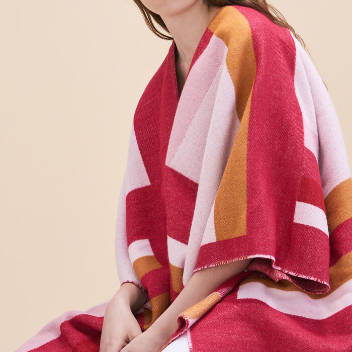 Long poncho with graphic print -  - MAJE