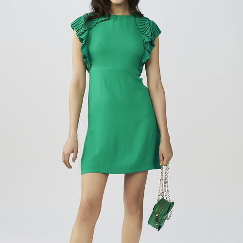 Straight cut dress with pleated sleeves : Dresses color GREEN