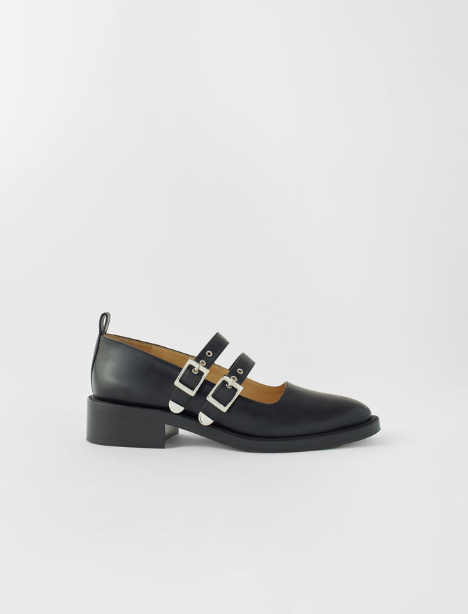 Black leather flat Mary Janes - All Shoes - MAJE