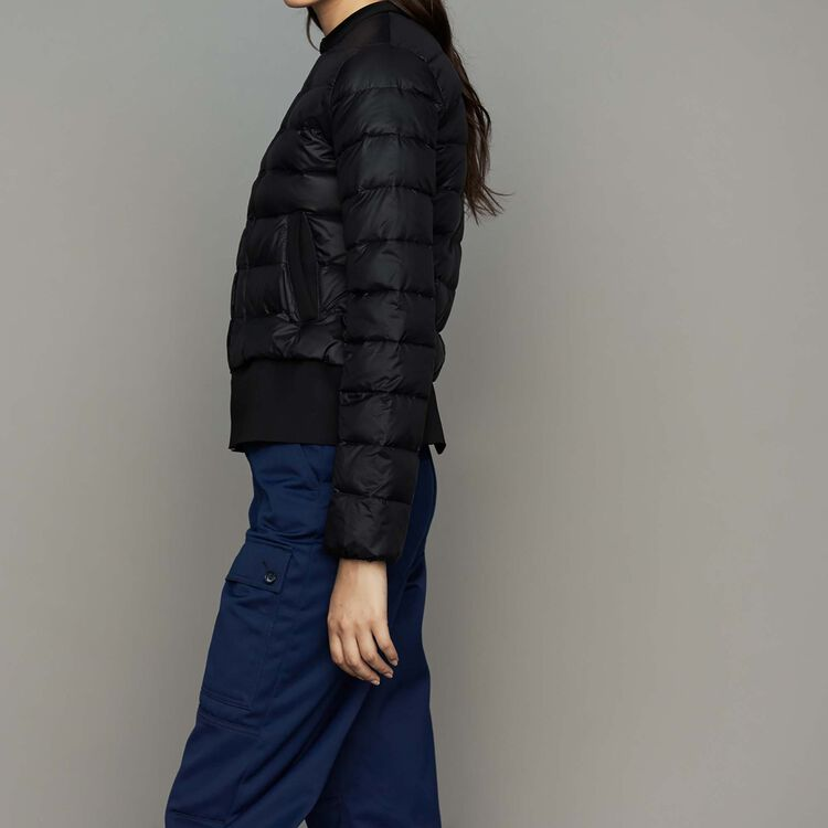 Cropped nylon jacket with basque fit : Coats color Black 210
