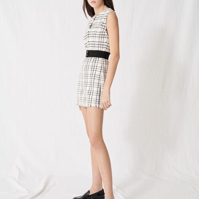 Belted tweed mini dress -  - MAJE