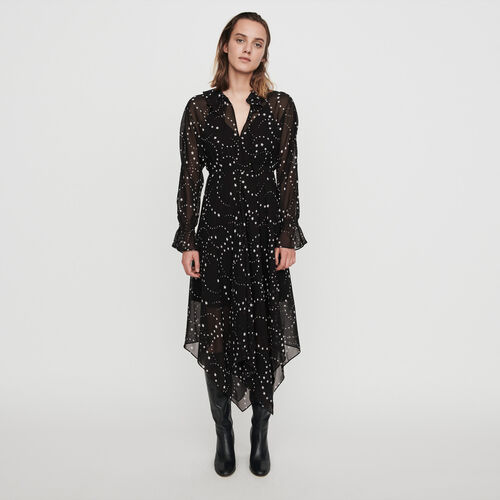 Printed-muslin scarf dress : Dresses color Black