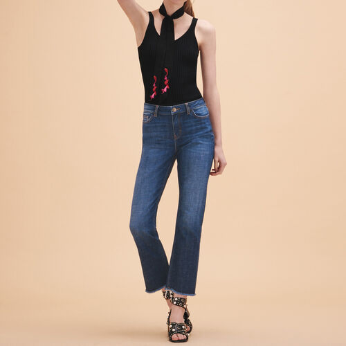 Stretch cotton straight jeans : Trousers & Jeans color Blue