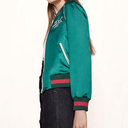 Varsity-style satin jacket : Blazers & Jackets color Green