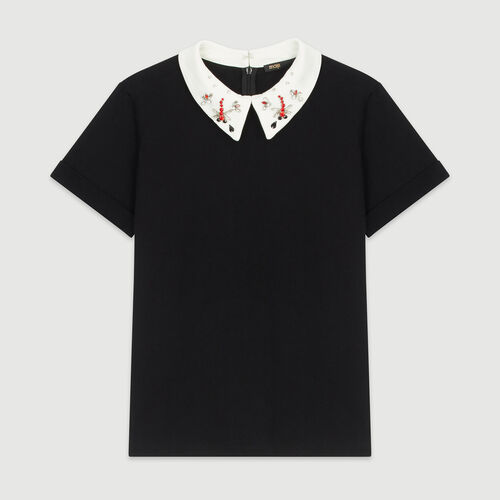 T-shirt with bejeweled collar : T-Shirts color Black 210