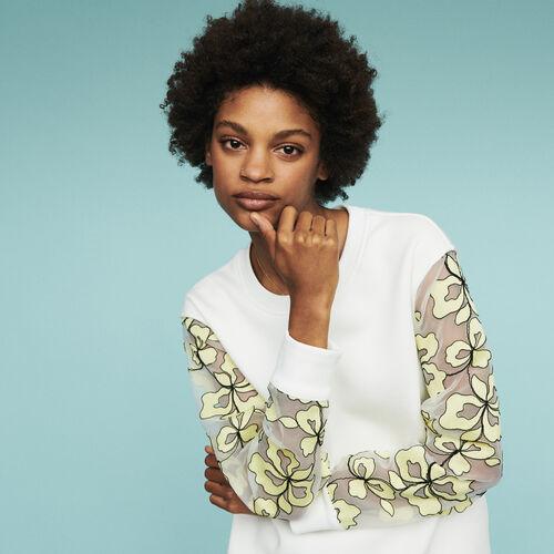 Sweatshirt with organza details : Sweatshirts color WHITE
