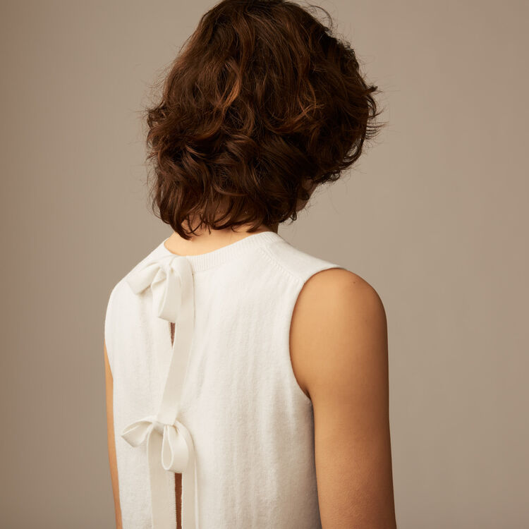 Sleeveless bow back sweater : Knitwear color Ecru