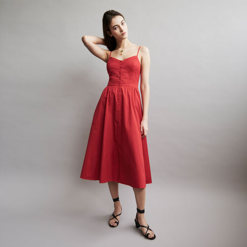 Thin straps dress and crop top : Dresses color ROUGE