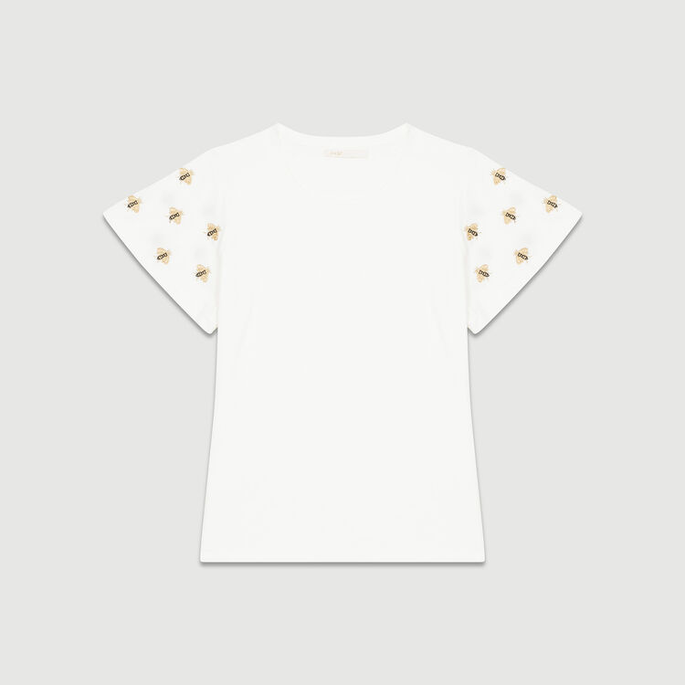 T-shirt with embroidered bees : T-Shirts color Ecru