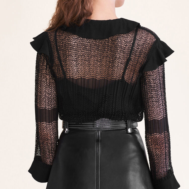 Openwork knit top : Tops color Black 210
