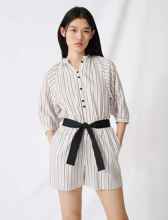 Belted pinstriped jumpsuit - Jumpshort & Jumpsuits - MAJE