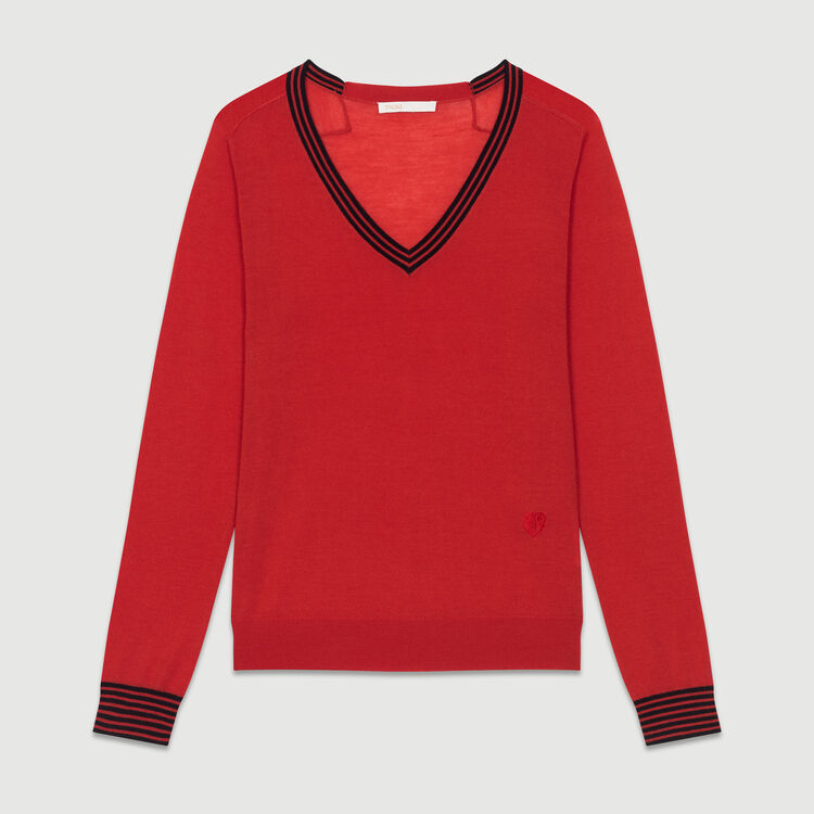 Fine knit merino wool sweater : Knitwear color Red