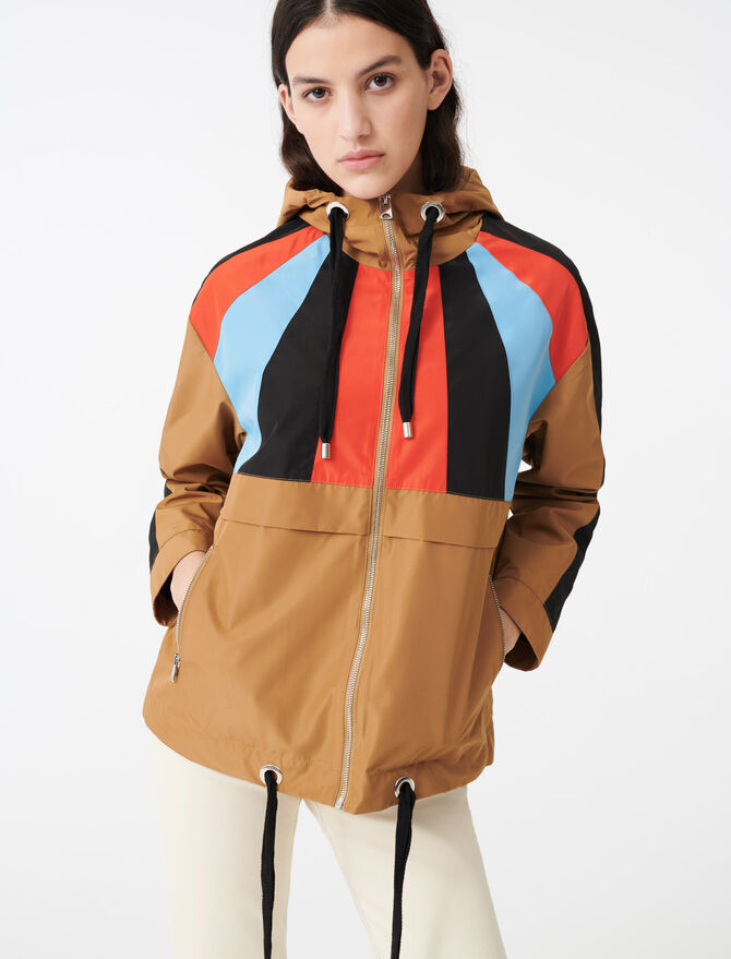 Multicoloured hooded windbreaker -  - MAJE