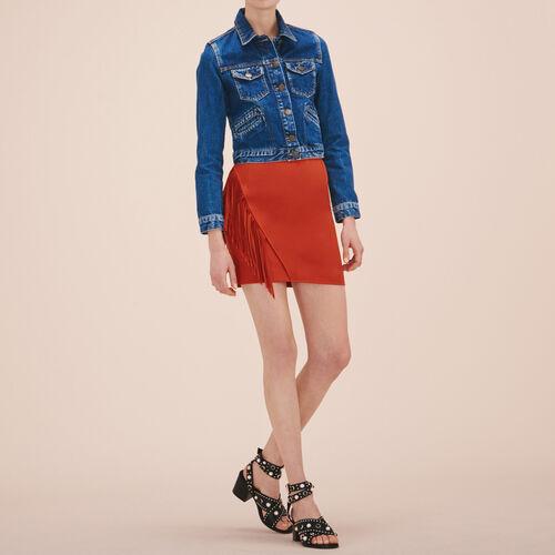 Fringed short skirt : Skirts & Shorts color Terracota