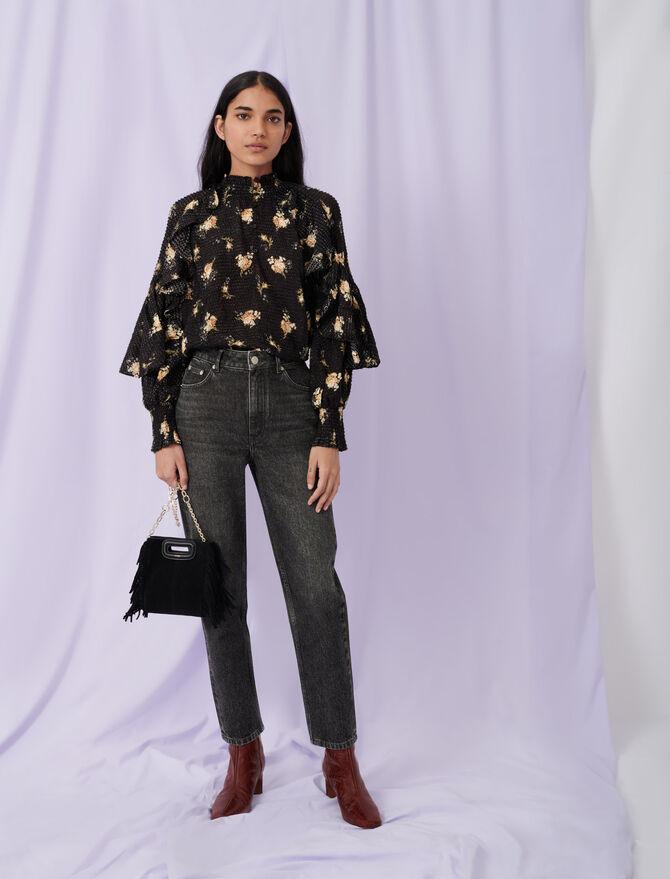 Low cut jacquard top with ruffles - Tops & Shirts - MAJE