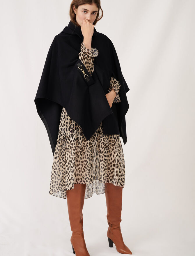 Cape-style wool coat -  - MAJE