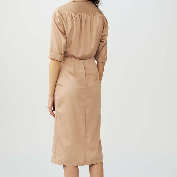 Shirt dress with fold : Dresses color SAND BEIGE