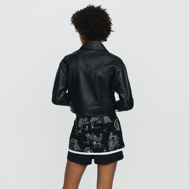Cropped leather jacket : Jackets color Black 210