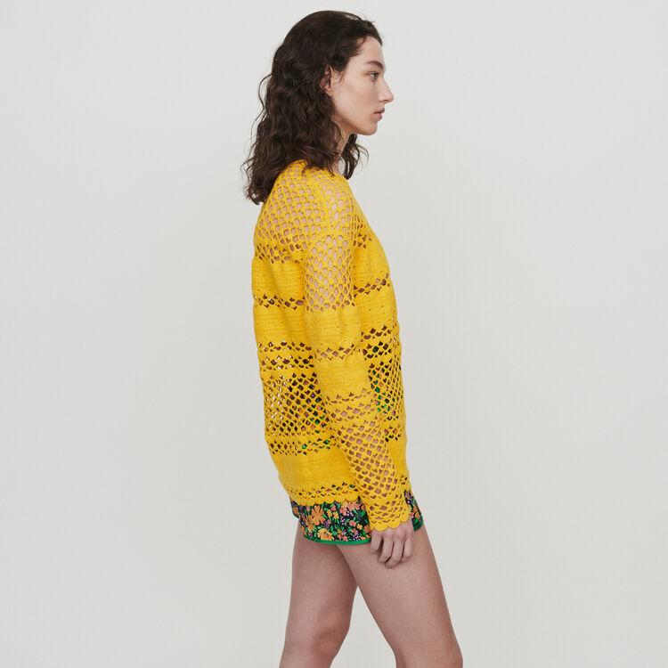 Oversize sweater in crochet knit : Knitwear color Yellow