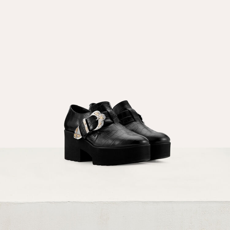 Leather derby shoes with buckle : New collection color Black 210