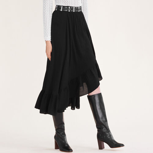 Asymmetric frilled skirt : See all color Black 210
