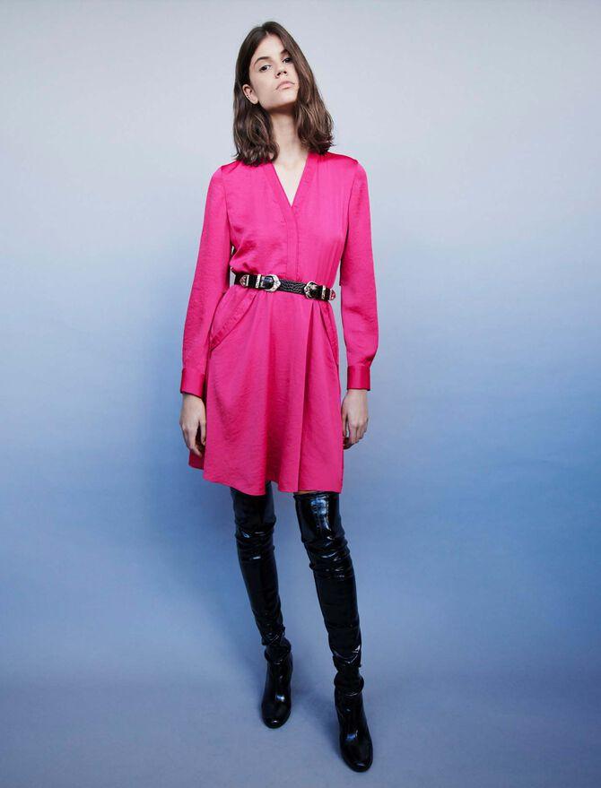 Satin dress with elasticated waistline - Dresses - MAJE