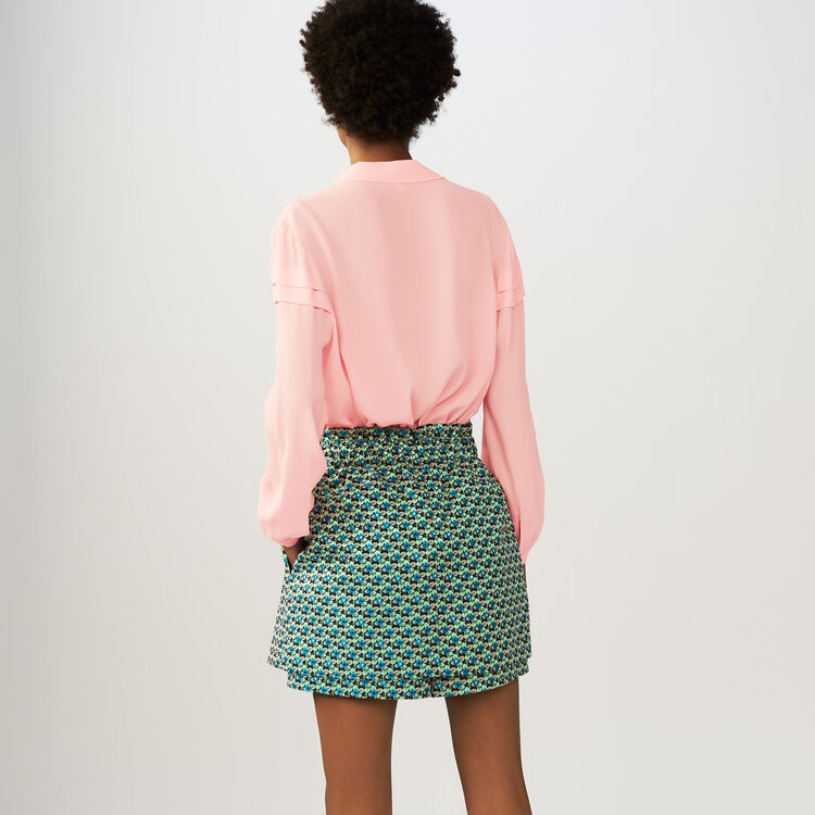 Crepe blouse with ruffles : Tops color PURPLE