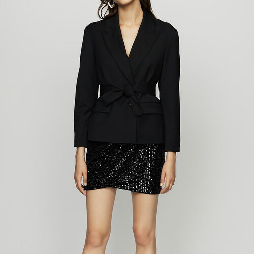 Cropped jacket in virgin wool : Blazers color Black 210