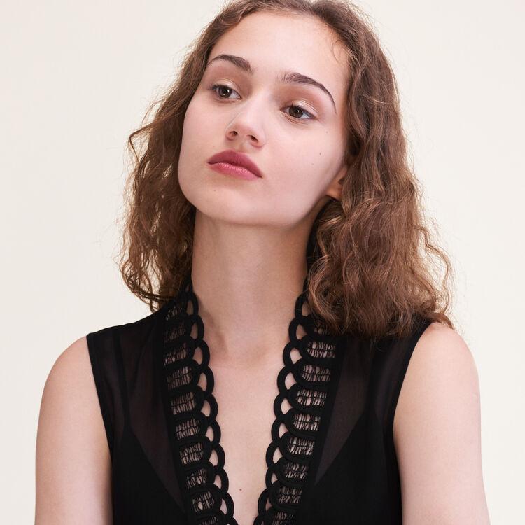 Embellished voile top : Tops color Black 210