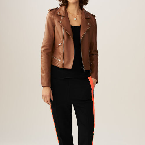 Leather jacket : Jackets color Camel