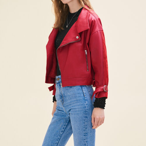 Vintage-style leather jacket : Blazers & Jackets color Red