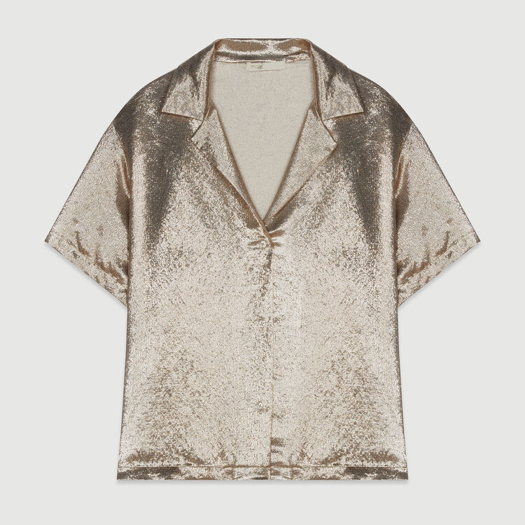 Pajama-style silk blend shirt : Tops & Shirts color Gold