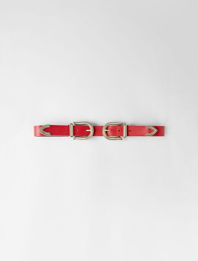 High-waisted double buckle belt -  - MAJE