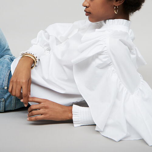 Ruffled cotton poplin blouse : Tops color White