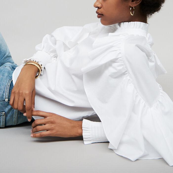 Ruffled cotton poplin blouse : Tops color White