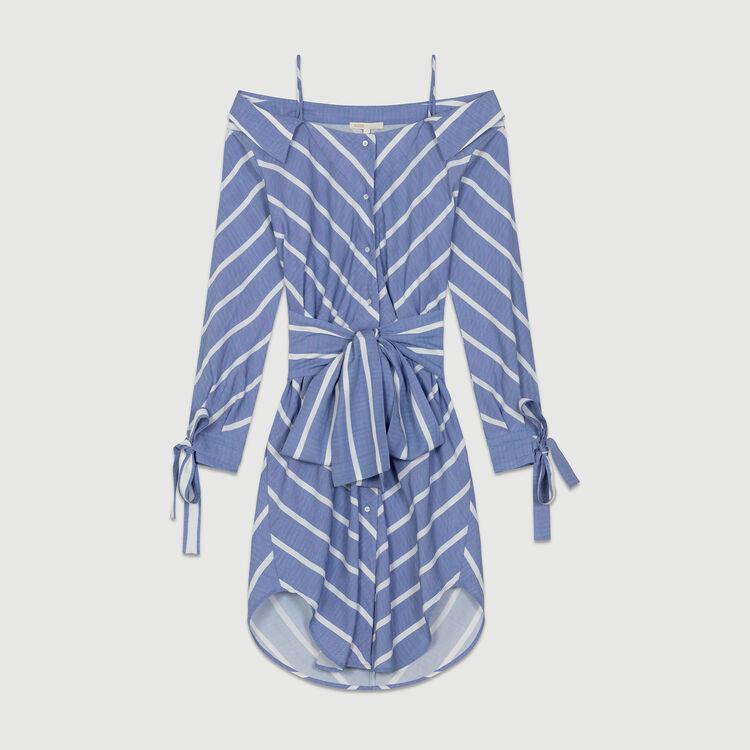 Striped cold-shoulder shirt dress : See all color Blue